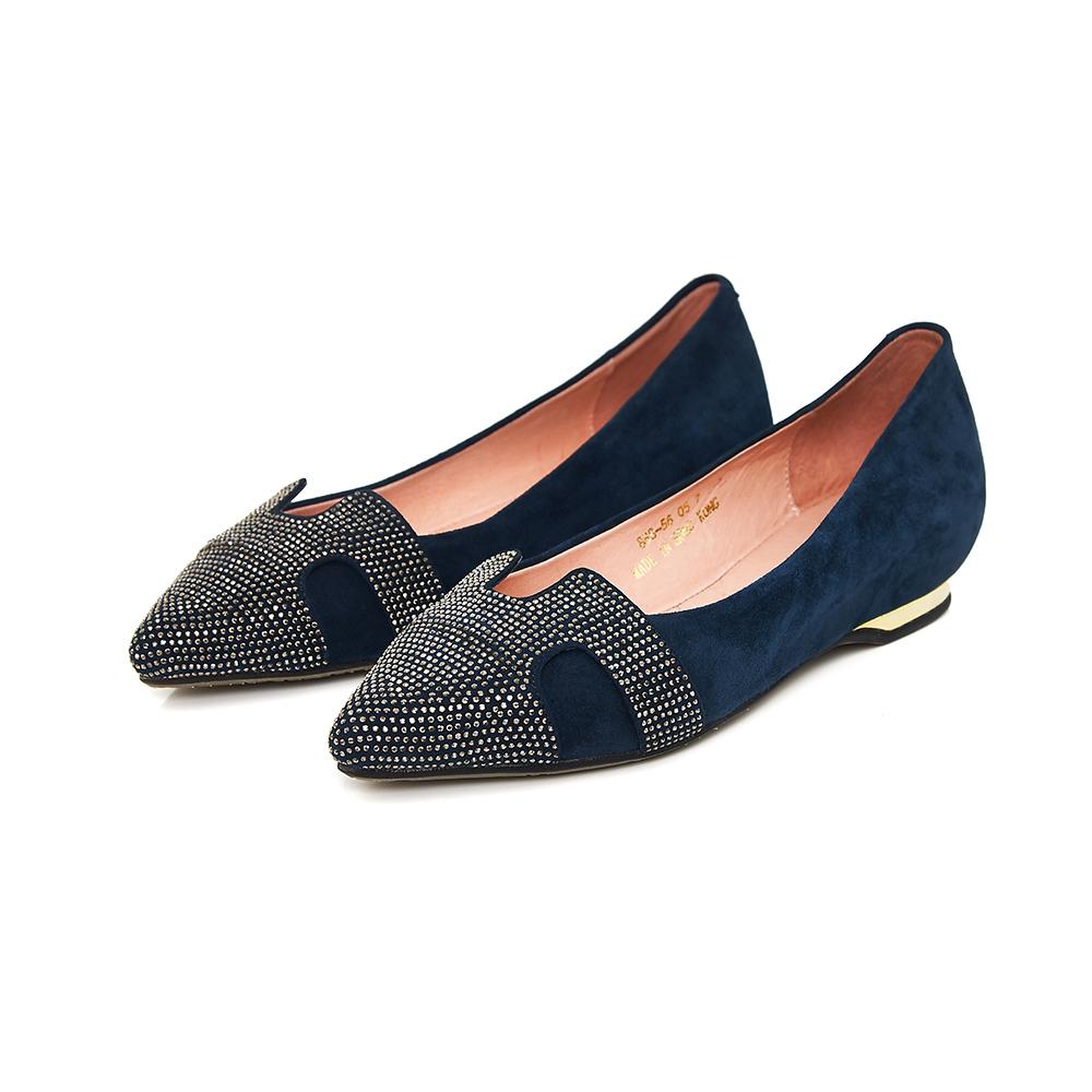 TAS 水鑽u型鏤空金屬後跟尖頭鞋-氣質藍