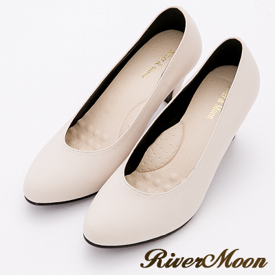 River&Moon跟鞋-超穩百搭通勤彈力靜音高跟鞋-米杏