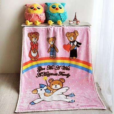 大阪寢屋川 飛躍彩虹熊-粉 雙層童毯 100*140CM