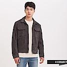 H:CONNECT 韓國品牌 男裝 - 麂皮感翻領外套 - 灰