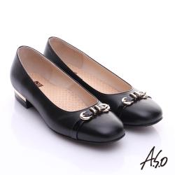 A.S.O 3E舒活寬楦 全真皮奈米條紋皮飾帶低跟鞋 黑