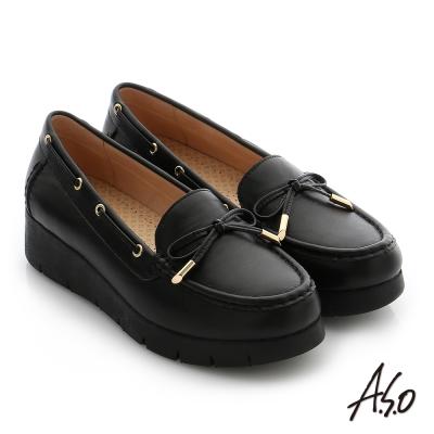 A.S.O 輕量休閒 真皮蝴蝶結飾釦奈米窩心休閒鞋 黑色
