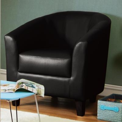 漢妮Hampton莫里斯皮面休閒椅/單人沙發/主人椅/椅子-黑