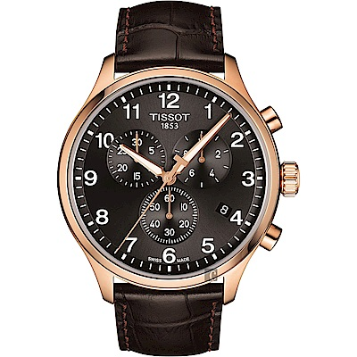 TISSOT天梭 韻馳系列 Chrono XL計時手錶-灰x玫塊金框/45mm