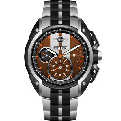 MINI Swiss Watches  極速運動計時腕錶-咖啡鋼帶款/45mm
