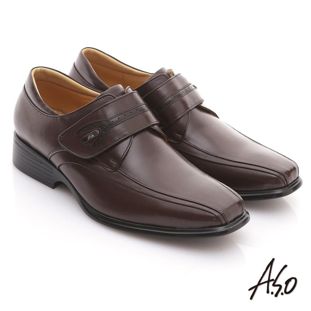 A.S.O 頂級氣墊 全真皮金屬飾釦魔鬼氈紳士鞋 咖啡