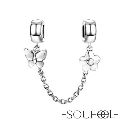 SOUFEEL索菲爾 925純銀珠飾 安全鏈 蝴蝶與花朵