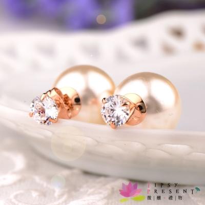 微醺禮物 鋯石 鍍k金 真愛永恆單顆鑽+珍珠後耳塞 耳環