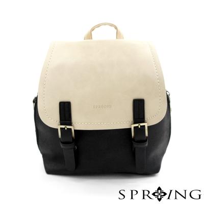 SPRING-祕密日記雙色後背包-米/黑