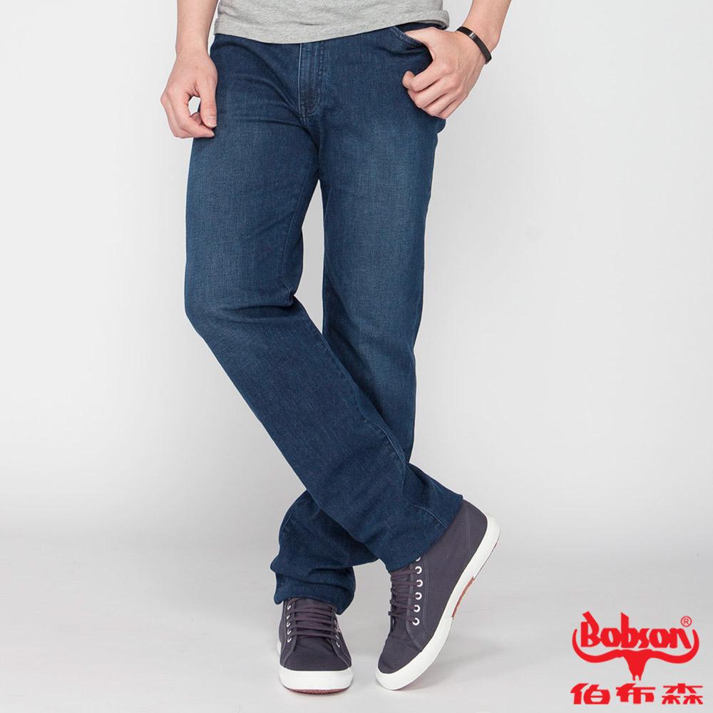 BOBSON 男款高腰膠原蛋白彈性直筒褲(藍1791-53)