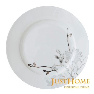 Just Home 芙蘿菈高級骨瓷8吋餐盤4件組