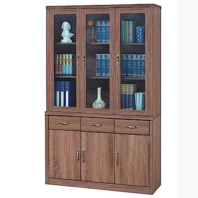 H&D 柚木色4尺書櫥組 (寬121X深41X高206cm)