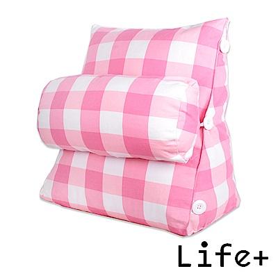 Life Plus 典雅格紋舒壓萬用靠枕/抱枕/腰靠枕 (粉紅格紋)