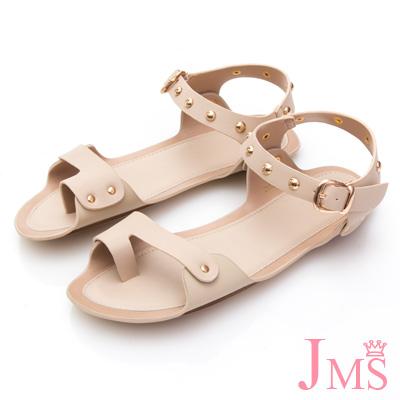 JMS-獨特質感鉚釘釦飾帶平底涼鞋-米色