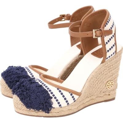 TORY BURCH Shaw Wedge 繡花條紋手工草編楔型鞋(藍色)