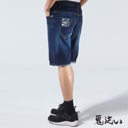 鬼洗 BLUE WAY 冰礦磁之力WINCOOL牛仔短褲-深藍