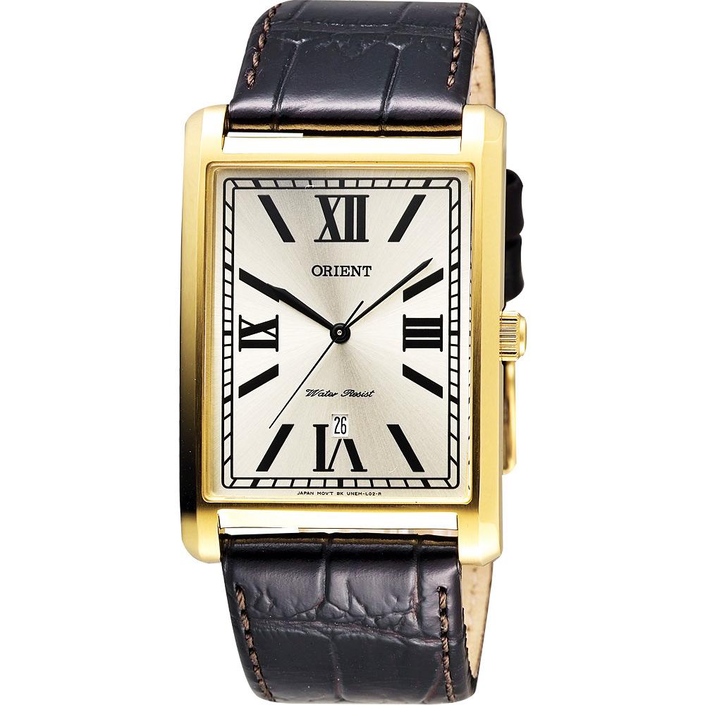 ORIENT 羅馬雅仕簡約石英腕錶-金x咖啡/32mm
