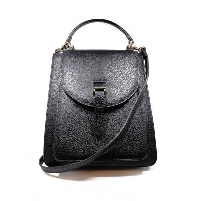 meli melo英國品牌 Floria情書包系列經典黑皮革真皮手提肩背包