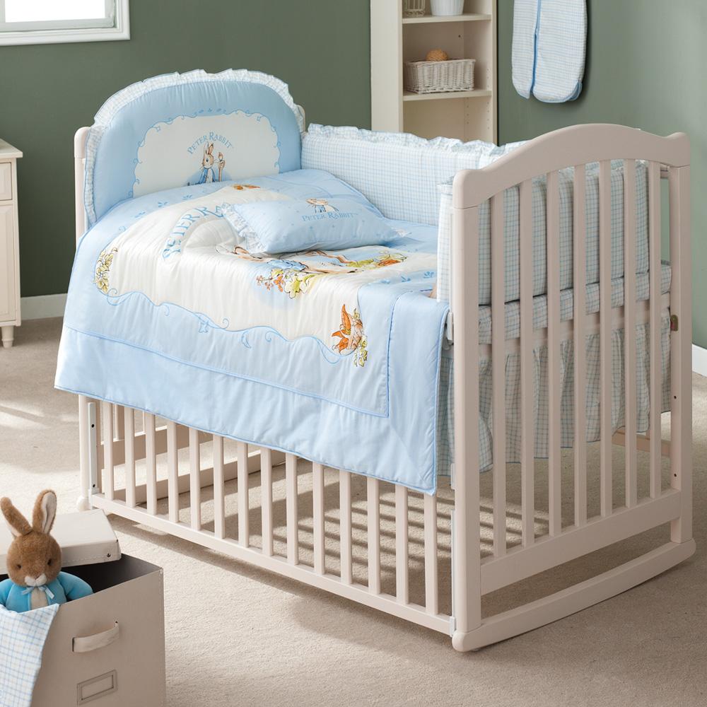 古典白色大床+粉彩比得兔六件大床組(淺藍)