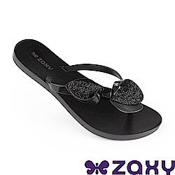 Zaxy 巴西 女 清新蝴蝶夾腳拖鞋-黑色/金蔥黑