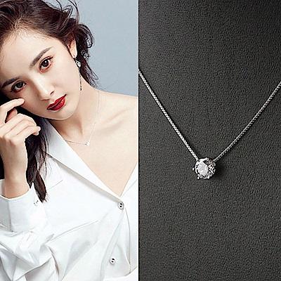 梨花HaNA 韓國925銀質感六爪單顆美鑽鎖骨鍊經典恆久