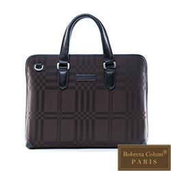 Roberta Colum - 紳士品味棋盤格真皮皮革手提側背包
