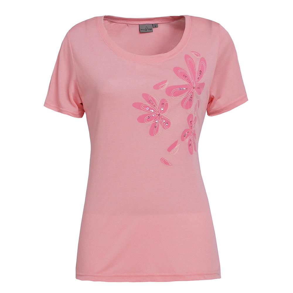 【hilltop山頂鳥】女款天絲棉吸濕排汗彈性短袖T恤S04FB2-淡粉
