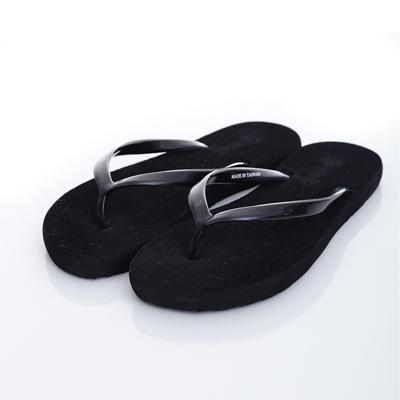 WAVE 3 【女】台灣製鏡面素色刷毛人字夾腳拖鞋~黑