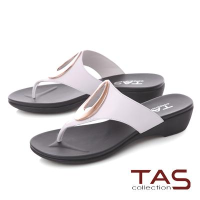 TAS 金屬圓飾寬帶夾腳拖鞋-優雅白