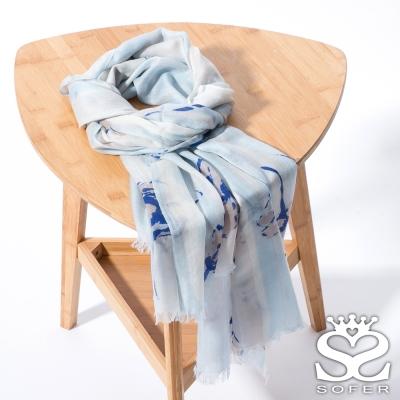SOFER 戀戀花繪100%喀什米爾保暖披肩/圍巾 - 寧靜藍