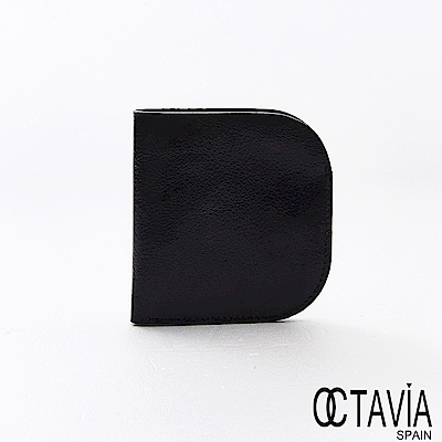 OCTAVIA8真皮 -   BACKUP  口袋式極簡式二折油蠟牛皮短夾 - 方亮黑