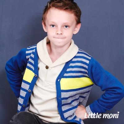 Little-moni-巴黎街頭條紋針織外套-深藍