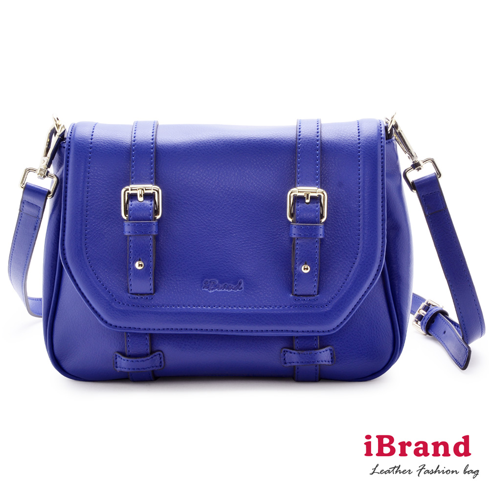 i Brand 真皮包包-甜美時尚-Lovely真皮小舒莉雙皮釦包-爵士藍