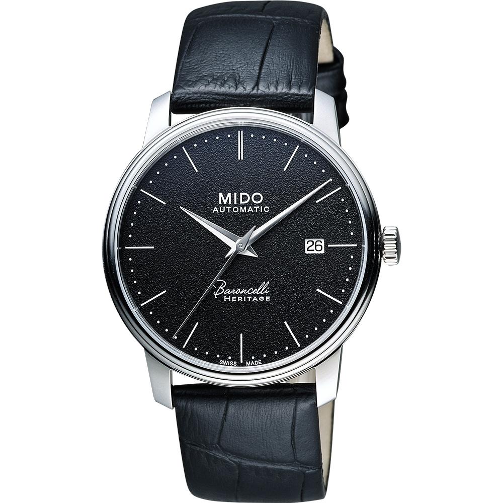 MIDO Baroncelli III Heritage 復刻經典機械腕錶-黑/41mm M0274071605000