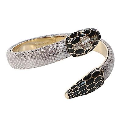 BVLGARI 寶格麗 Serpenti系琺瑯水蛇頭鑲水鑽雙釦環繞式手環 (銀灰)