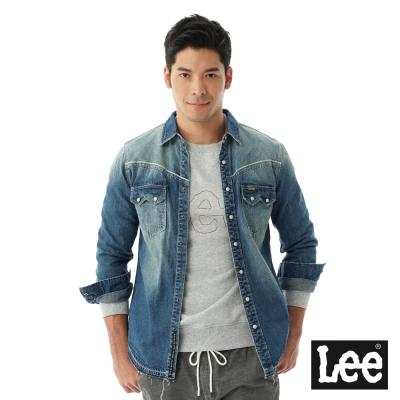 Lee 101+ 長袖牛仔後字繡襯衫 男款-藍