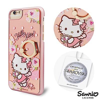 三麗鷗 Kitty iPhone8/7/6s 施華彩鑽鏡面指環扣手機殼-天使凱蒂
