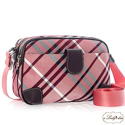 a Lady 's真皮 俏麗圓弧多口袋新格紋斜背包(紫紅)