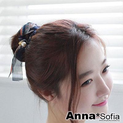 AnnaSofia 韓國花紋雪紡緞帶 盤髮棒盤髮器髮圈(藏藍系)