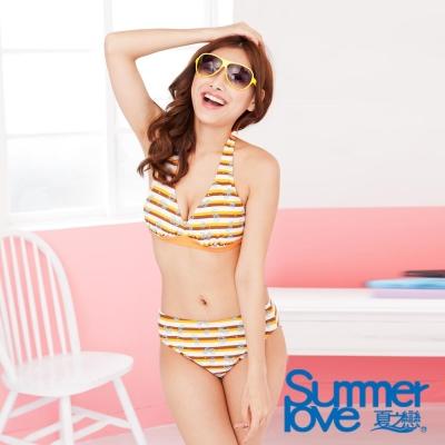 LOVETEEN夏之戀-橘色橫條比基尼二件式泳衣