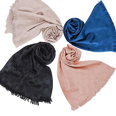 COACH滿版LOGO羊毛混絲針織披肩圍巾(4色)