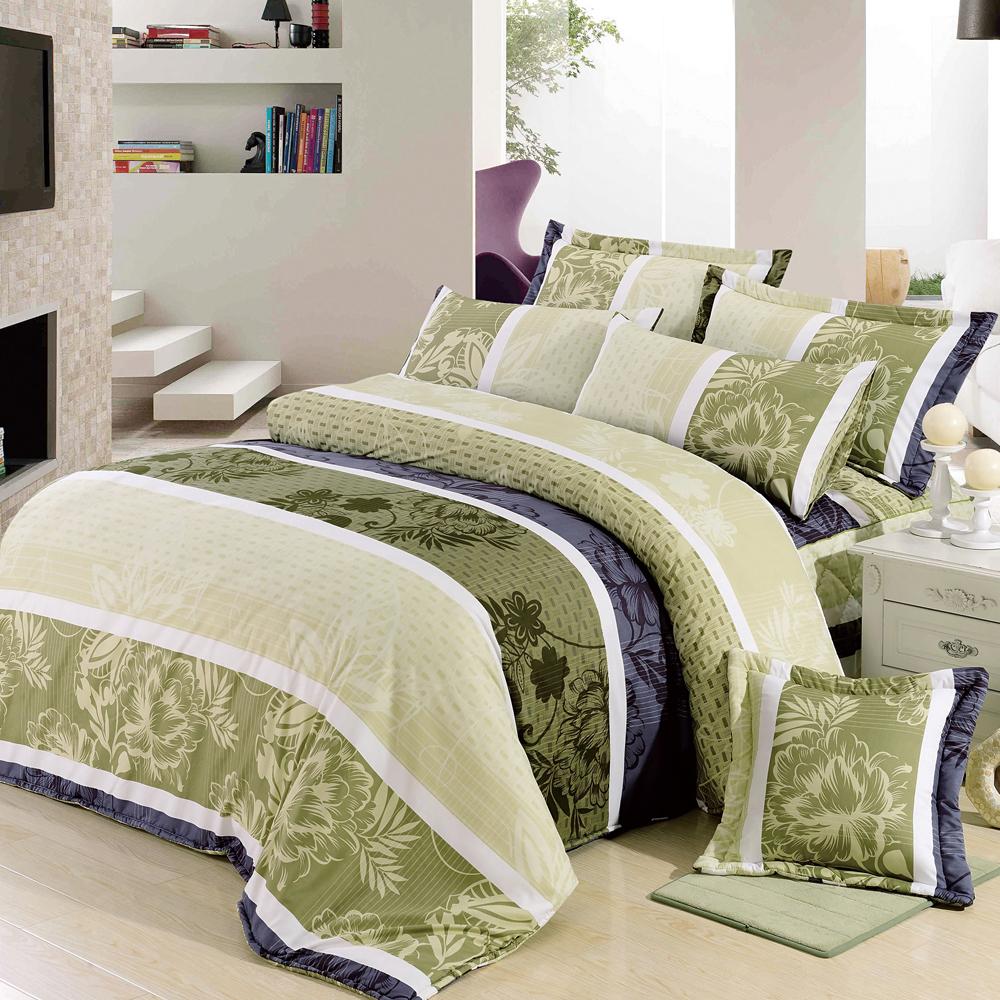 沙比瑞爾Saebi-Rer-悠閒仲夏 台灣製活性柔絲絨雙人六件式床罩組