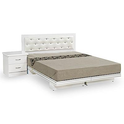 時尚屋 衛斯理純白3.5尺加大單人床架(不含床頭櫃-床墊)