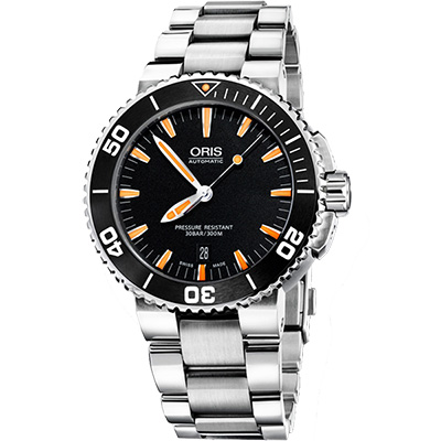 Oris Aquis 時間之海300米潛水機械腕錶-黑/43mm