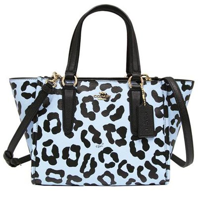 COACH馬車豹紋全皮革手提/斜背二用包-淡藍(小)