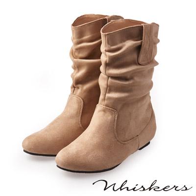 Whiskers 完美腿型 素色抓皺內增高中筒靴*米色