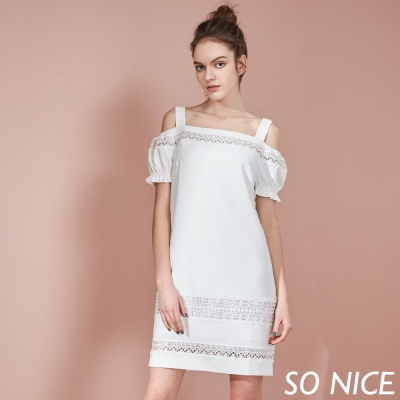 SO NICE女神挖肩蕾絲洋裝