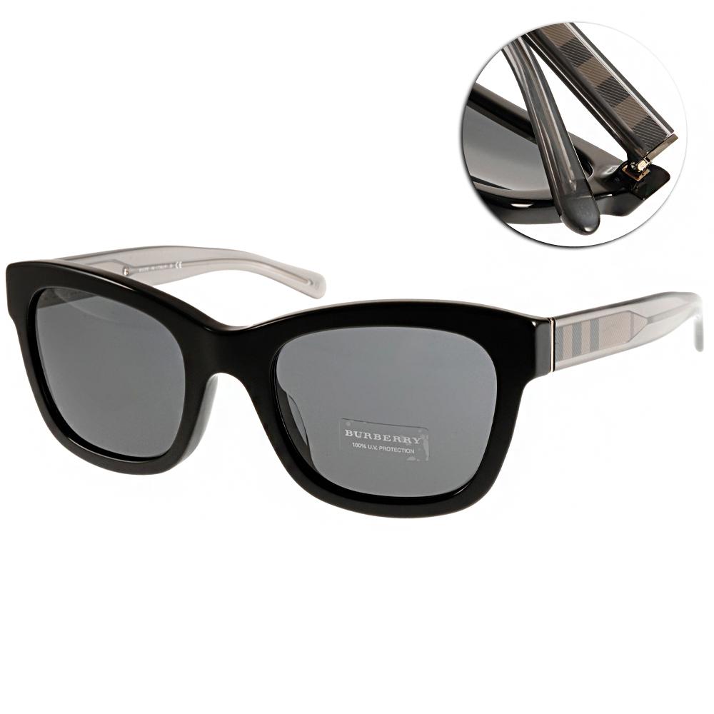 BURBERRY太陽眼鏡 經典格紋系列/黑#BU4209F 300187