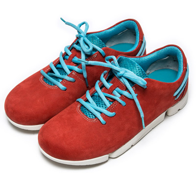 DIANA 輕。愛的--極限輕量雙色綁帶牛皮休閒鞋-紅