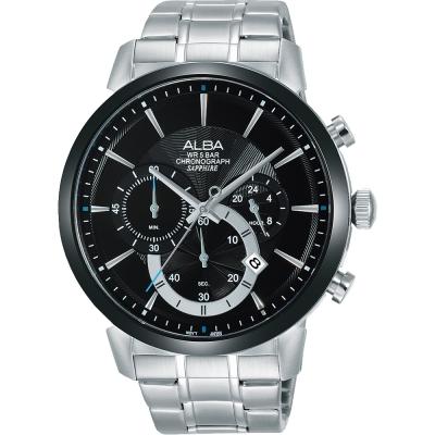 ALBA雅柏 Prestige 酷流行計時手錶(AT3D25X1)-黑/44mm